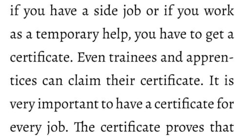 Entitlement to a certificate of employment