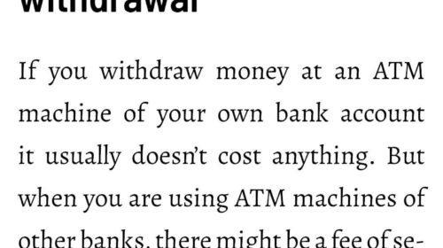 Potential costs of money withdrawal