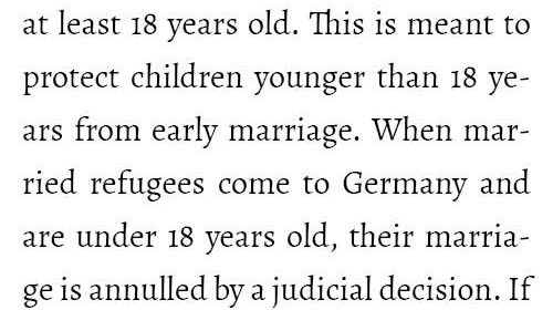 Child marriage is forbidden in Germany