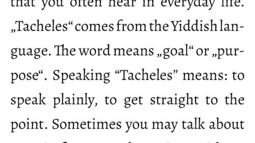 "What does ""Tacheles reden"" mean?"