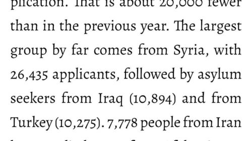 Syria at the top -In 2019, 142,509 people in Germany submitted
