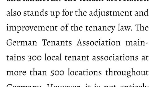 What does the tenants' association do?If you have a problem